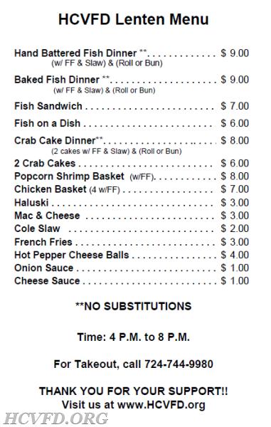 2018 lenten fish fry harrison city volunteer fire department for Fish on fire menu